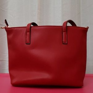 Small Faux-Leather Tote with Zipper